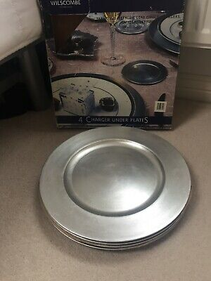 Wilscombe - 4 Silver Metallic Charger under plates - In Box - Immaculate