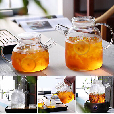 Glass Kettle Water Jug Heat Resistant Teapots with Transparent Lid Home Office