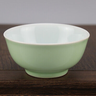 China old hand-carved porcelain green glaze  A small bowl b02