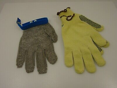 Stainless Steel Chain Mesh Glove & Liners Set Sharp Edges Safety Oyster Shucker