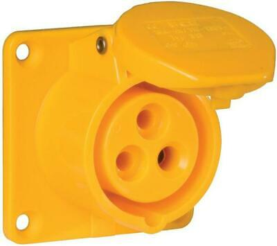 Pce - 313-4F6 - 16a 110v 3p Panel Mounted Cee Industrial Socket, Ip44, Yellow