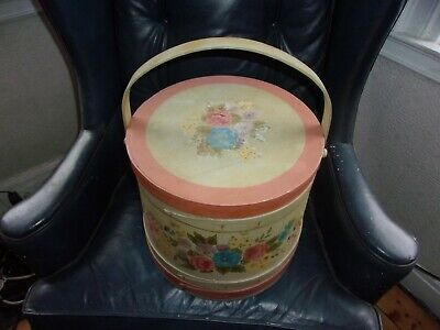 Antique Hand Painted Sewing Basket