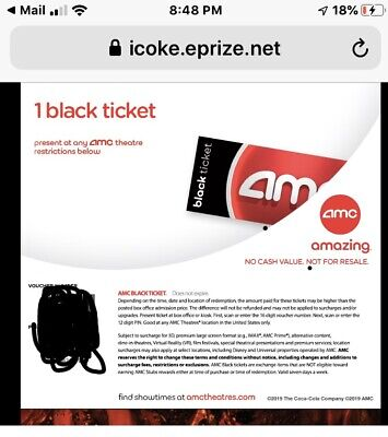 AMC Movie Black Ticket & Large Popcorn & Large Beverage