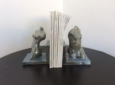 Vintage Pair Of Ceramic Bookends Of Stylized Male And Female Figures