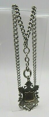Vintage Sterling Silver Double Albert Watch Chain with Sterling Silver Fob
