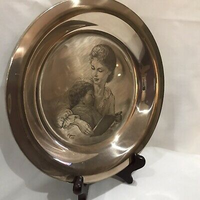 STERLING SILVER  1974 Franklin Mint MOTHERS DAY Plate  Mother & Child