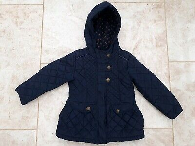 Next Girls Age 3 4 Navy Blue Padded Jacket Winter Fashion Wear Quilted Coat Kids