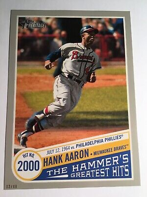 2019 Heritage High Number 5x7 Greatest Hits Hank Aaron 2000th Hit THGH14 17/49