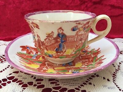 Antique Staffordshire Pink Lustre/Polychrome, Chinese Pagoda Cup & Saucer c.1850