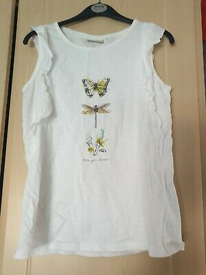 girls white frilly sleeveless top age 10 years from next