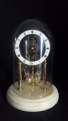 Vintage Hermle Skeleton Anniversary Clock Glass Dome Marble Base W. Germany