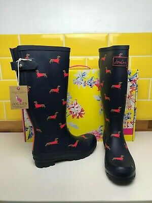 Joules Navy Sausage Dog Wellington Boots Tall Welly Boots Dachshund Wellies UK 5