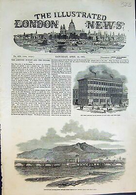 Antique Print First Cast Iron House New York Bridgewater Bridge Hobart 1851