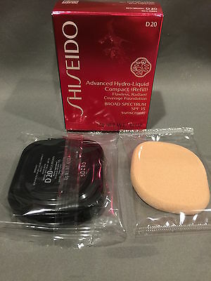 NIB Shiseido Advanced Hydro-Liquid Compact Refill d20 Rich Brown SPF 15