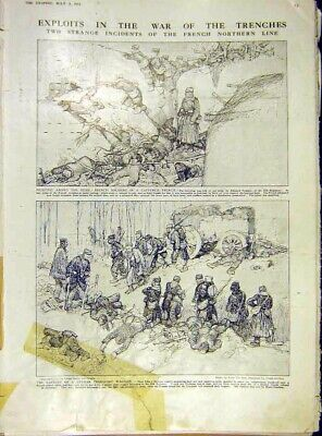 Original Old Antique Print Trenches War Ww1 Sketches French Siers German 1915
