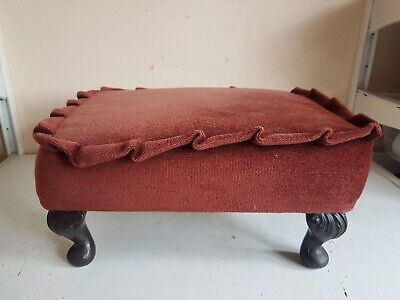 Vintage Footstool Foot Rest Brown Fabric Queen Anne Legs Furniture Home Decor