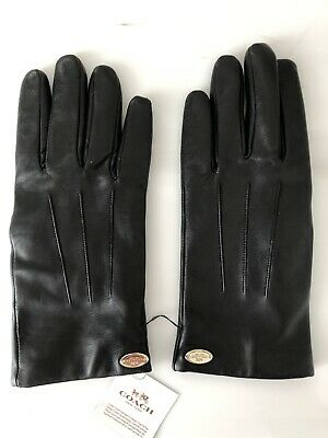 Coach Womens Black Soft Leather Gloves Wool Lined  Size 7.5  New With Tags