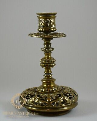 Antique 19Th Century French Polished Bronze Candlestick