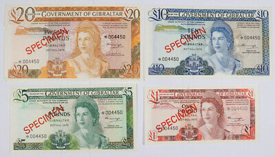 1975 Set of 4 Bank of Gibraltar 1, 5, 10, and 20 Pounds Specimen Notes
