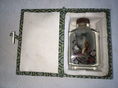 Antique Chinese Reverse Hand Painted Glass Snuff Bottle w/ Birds & Box