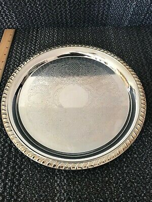 Vintage Leonard Silverplate Etched Round Serving Platter Tray - Pineapple