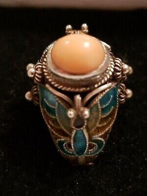 Antique Chinese Export Silver Enamel Butterfly Angel Skin Coral Ring Sz 6.75