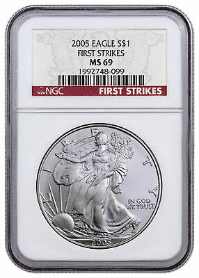 2005 1 oz Silver American Eagle NGC MS69 FS First Strikes SKU21306