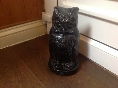 Vintage Cast Iron Black Owl Bird Of Prey Doorstop