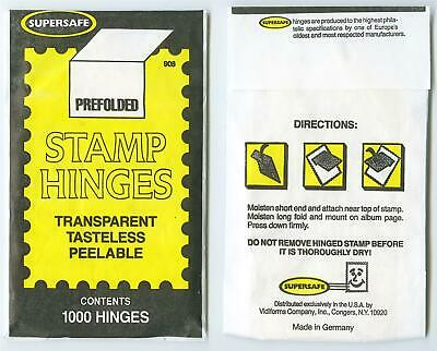 Dealer Dave Stamp Supplies STAMP HINGES, SUPERSAFE PREFOLDED, 1000 HINGES, SAFE!