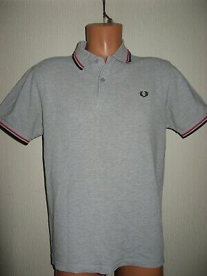 Worn Once Boys Mens Pale Grey Fred Perry Short Sleeve Polo Shirt Age 14-15-16+