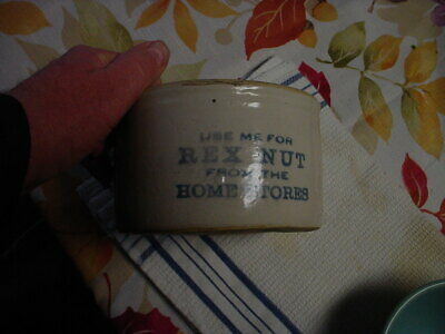 Antique advertising crock-Rex Nut-Home Stores-Red Wing?
