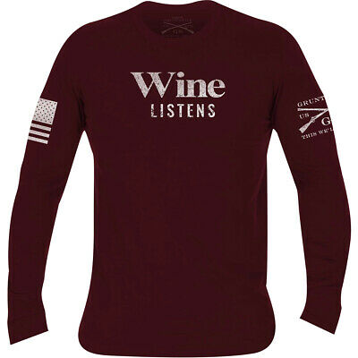 Grunt Style Women's Relaxed Fit Wine Listens Long Sleeve T-Shirt - Wine