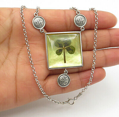925 Sterling Silver 0.16 Carat CZ Clover Floating Mother of Pearl Pendant /& Neck