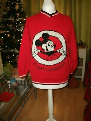 True Vintage St Michael Bright Red Mickey Mouse Long-Sleeved Jumper 20% Wool