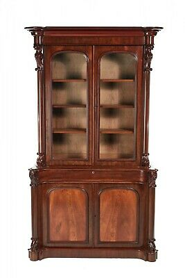 Fantastic Quality Victorian Carved Mahogany Bookcase