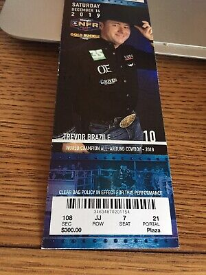 NFR Gold buckle Tickets 2, Dec. 14, National Finals Rodeo Sec 108 RowJJ$900ea.