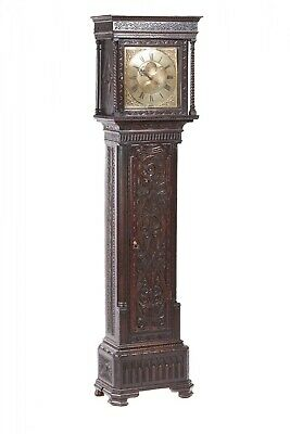 Outstanding Quality Antique Carved Oak Brass Face Longcase Clock H Lough, Penirt