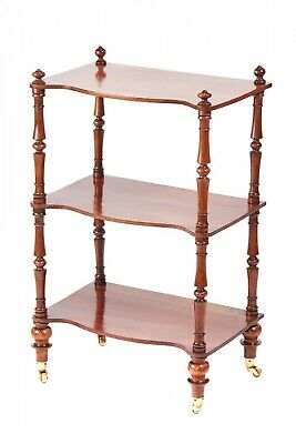 Victorian Walnut Three Tier Serpentine Fronted Whatnot
