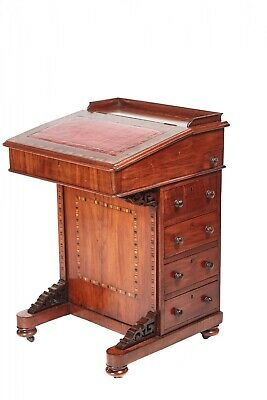 Victorian Walnut Freestanding Inlaid Davenport