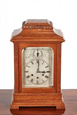 Large Antique Oak 8 Day Bracket Clock