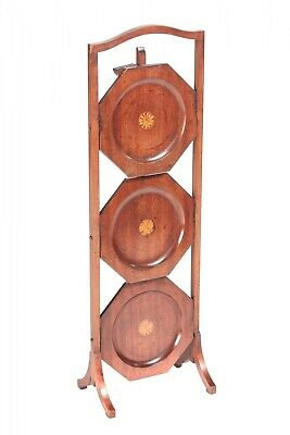Edwardian Inlaid Mahogany 3 Tier Cake Stand