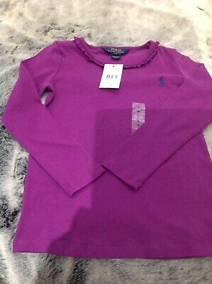 Brand New With Tags Polo Ralph Lauren Girls Purple Top Age 6