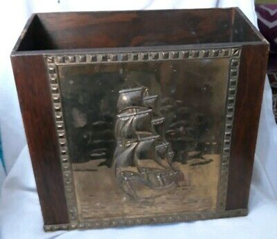 Vintage Wooden With Brass Plate. Magazine Rack.