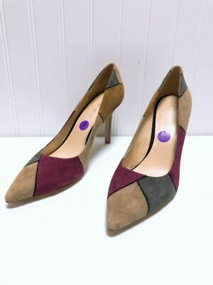 *Nine West Tan Gray Maroon Heels Suede Pumps Size 8