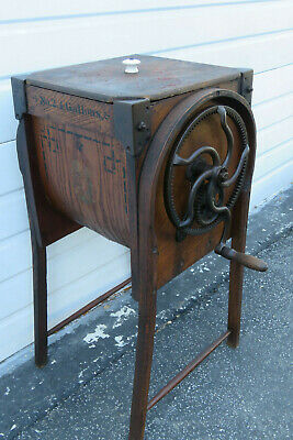 Late 1800s Bent Oak Wood Primitive Butter Churn by M Brown Co Ohio 1007
