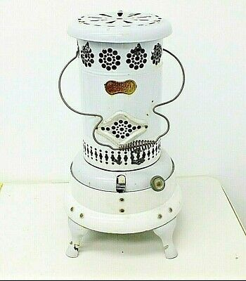 Vintage Antique Perfection RARE WHITE Smokeless Oil Heater Porcelain Enamel