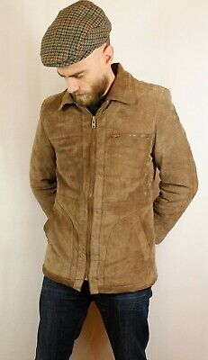 """Vintage Mens Suede Leather Jacket with Faux Fur Sherpa Lining 38"""" Small Brown"""