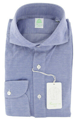 Imperfect Finamore Napoli Blue Stretch Popover Shirt - Slim - Large (35)
