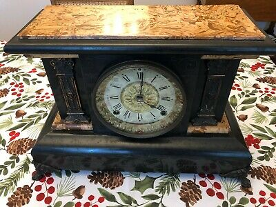 1880's Seth Thomas Antique Mantle Clock - Adamantine Marble Finish Top