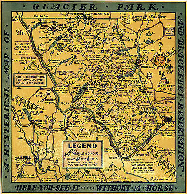 Early Hysterical Map of Glacier Park and Blackfeet Reservation Wall Poster Art